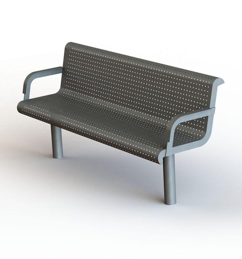ספסל מתכת למרחב ציבורי הדס ריהוט רחוב