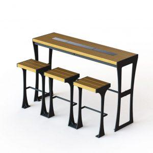שולחן עם כיסאות בר לרחוב